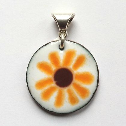 Enamelled Sunflower Pendant