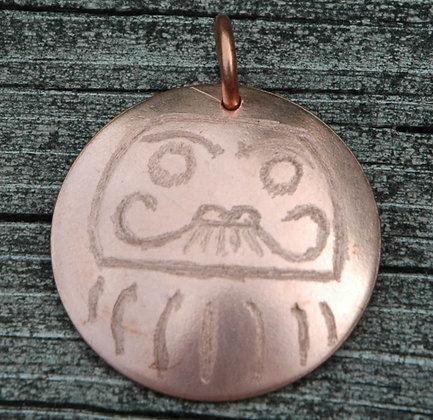 Copper Daruma Pendant