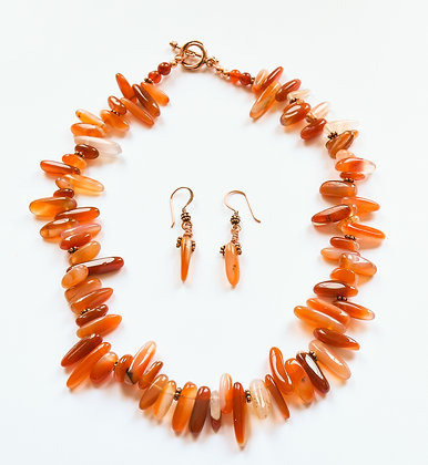 Carnelian Beauty - Necklace & Earrings Set