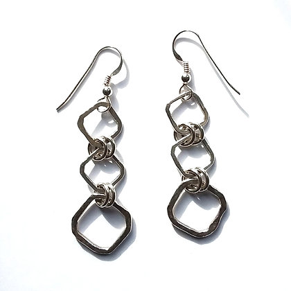 It's Cool to be Square - Handmade Silver Square Link Earrings