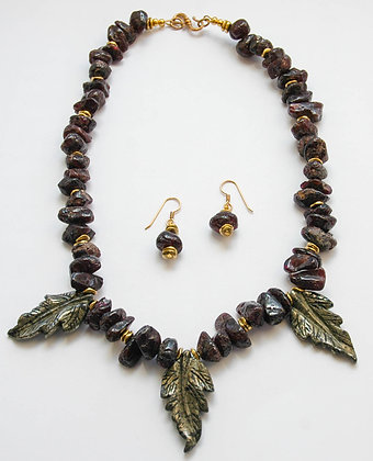 Rugged Glamour -  Garnet & Pyrite Leaf Necklace & Earrings Set