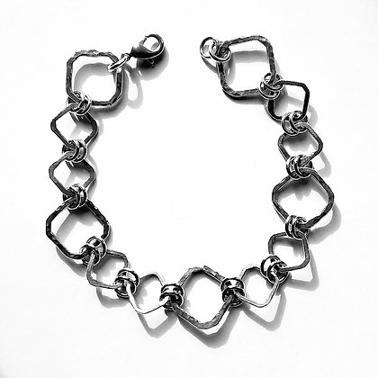 It's Cool to be Square - Handmade Silver Square Link Bracelet