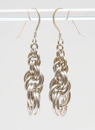 Graduated Spiral Weave Earrings, Sterling Silver