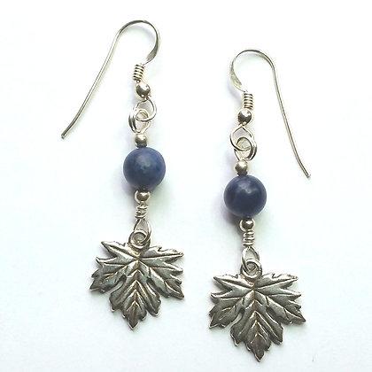 Sodalite & Maple Leaf Earrings