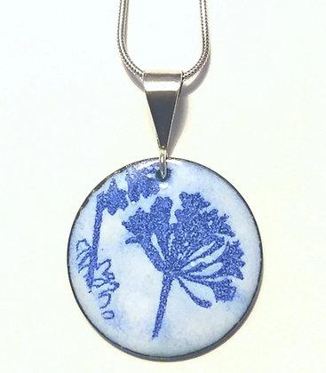 Enamelled Cobalt Blue Floral Pendant, Handcrafted
