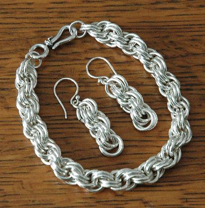 Sterling Silver Spiral Weave Set