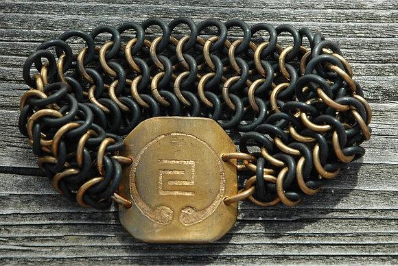Etched Bronze IOGKF Mon, Stretch Maille Bracelet