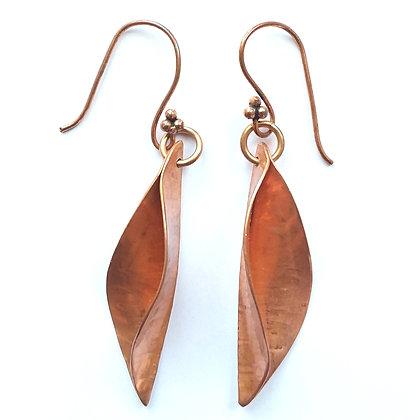 Copper Willow Leaf Earrings