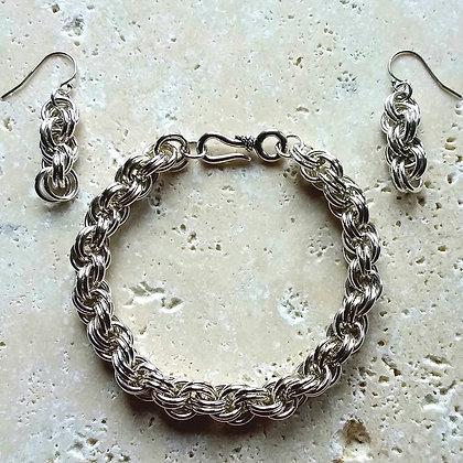 Classic Double Spiral Weave - Bracelet & Earrings Set