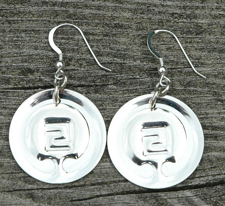 Sterling Silver IOGKF Mon Earrings, Embossed