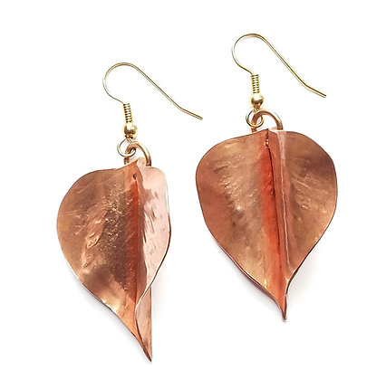 Handforged Copper Aspen Leaf Earrings