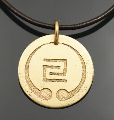 "Bronze IOGKF Mon Pendant, 1 1/8"" Etched"