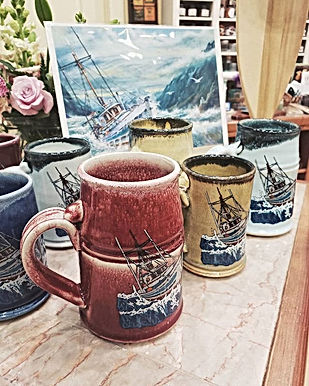 Harbor Tea & Spice Herb Bonnet 'Following Sea' mugs