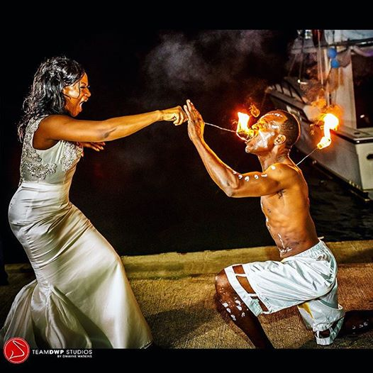 Fire Dancer at Wedding Marley Beach Bascobel Saint Mary Jamaica