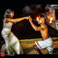 Fire Dancer at Wedding Marley Beach Bascobel Saint Mary Jamaica
