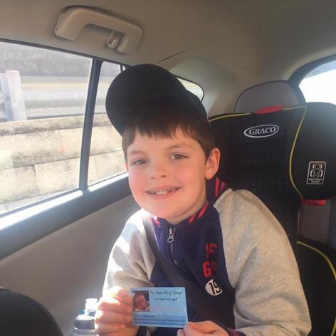 Ben with Nathans Butterflies kindness card
