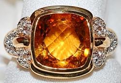 #317 Citrine & White Sapphire Ring