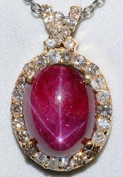 #1122 - Star Ruby & Diamonds Pendant WEB