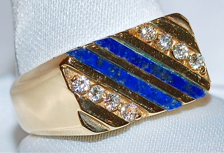#929 Lapis & .15ct Diamond Ring