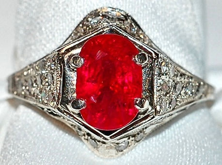 #191 - Plat Art Deco Ruby Diamonds  Ring