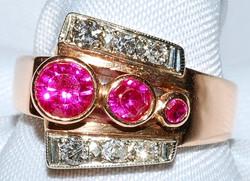 #714  Retro 14k Rose & White Gold Ruby &