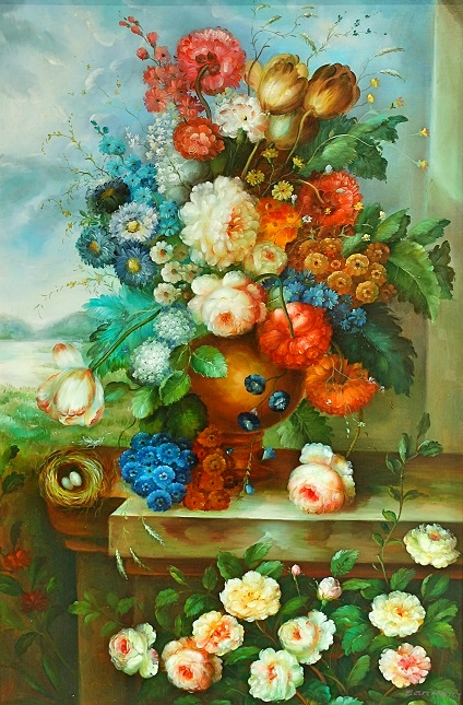 """Flemish Floral"" Oil by Earhart"