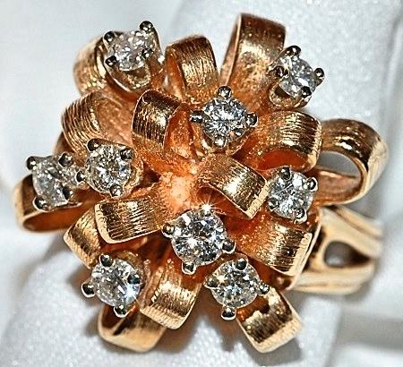 #803 14k Diamond 1.00ct Bow Ring