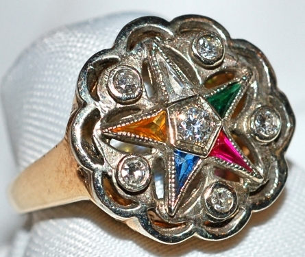 #613 Eastern Star Multi Gem Ring