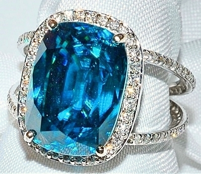 #975 - Blue Zircon & Diamond Ring WEB1