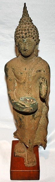 Bronze Thai Walking Buddha 17th Cen