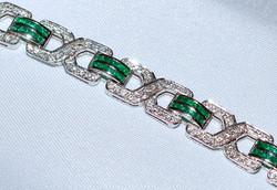 #245 18k Emerald & Diamond Bracelet