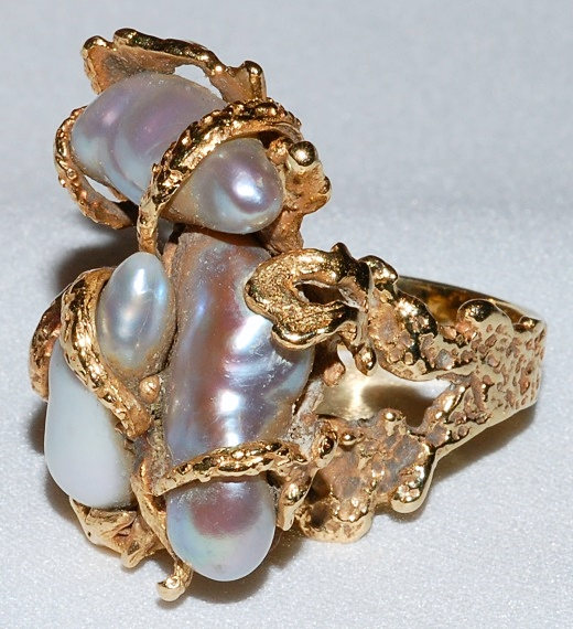 #749 - 14k Gold & Biwa Pearl Ring WEB