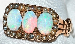 #633 Opal & Seed Pearl Ring