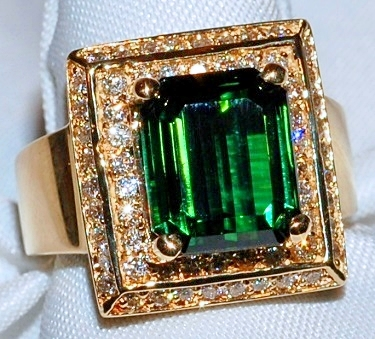 #304 14k Diamond & Tourmaline Ring