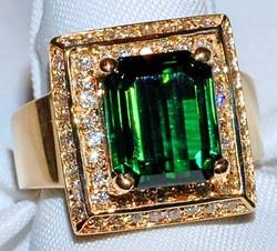 #304 14k Diamond & Tourmaline Ring