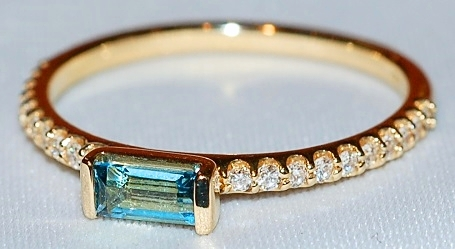 14k Swiss Blue Topaz Ring