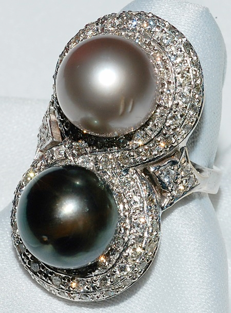 #516 - South Sea Pearl & Diamond Ring WE