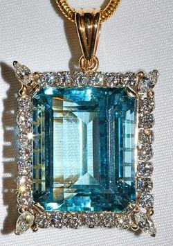 #1120 - Aquamarine Diamond Pendant WEB