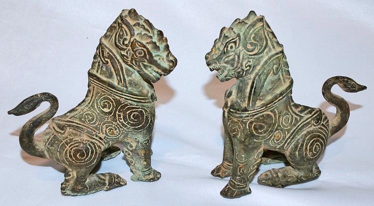 Bronze Temple Lions 18th Cen