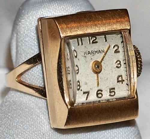 #423 14k Gold Harman Ring Watch