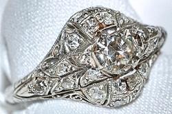 #013 Plat .97ct Diamond Deco Ring