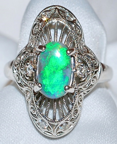 #048 - Platinum Black Opal Ring