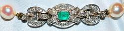 #545 Pearl, Emerald & Dia Necklace