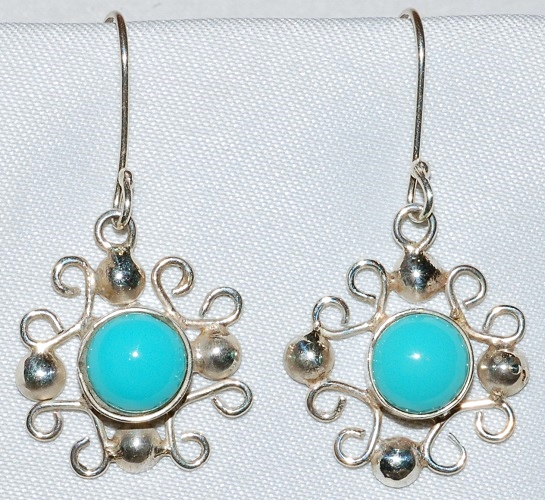 Taxco Sterling Turquoise Earrings WEB