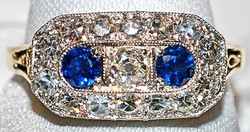 #655 14k/Plat OMC .53ct & Saph Ring