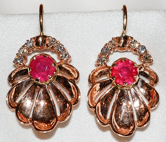 #745 - Retro Ruby & Diamond Earrings WEB
