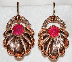 #745 - Retro Ruby & Diamond Earrings WEB