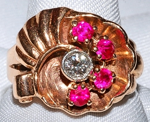 #702  Retro 14k Rose Gold Ruby & Diamond
