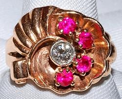 #702  Retro 14k Rose Gold Ruby & Diamond