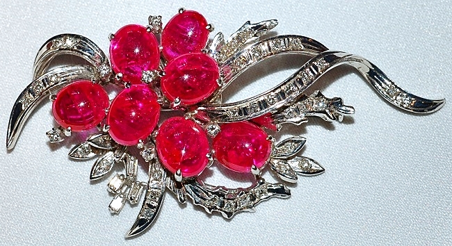 #190 Ruby & Diamond Brooch